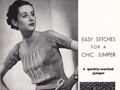 I seem to be stuck in the 30's as far as choosing a knitting pattern to post up, but can you blame me?!  This pattern comes from the September 1937 edition of Stitchcraft. Click on the follow…