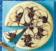 Dark & white chocolate cardamom swirl tart