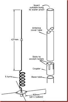 The aerial element and the coil are made from a single piece of 1.5mm welding (brazing) rod, and the dimensions are given in Figure . Wind...