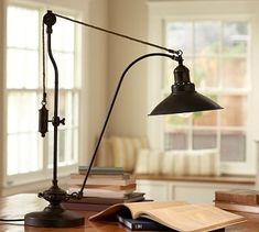 Glendale Pulley Task Table Lamp #potterybarn - this would great in my living room reading nook