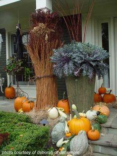 unique combination of pumpking decorating ideas and various grasses
