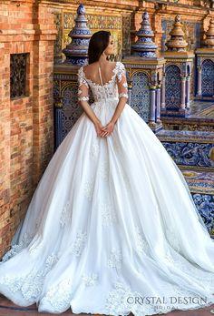 crystal design 2017 bridal half sleeves sweetheart neckline heavily embellished bodice princess wedding dress ball gown royal train (eleonor) bv