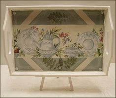 Lavendula Loveliness: Teapot tray in green and cream by Sandra Foster.
