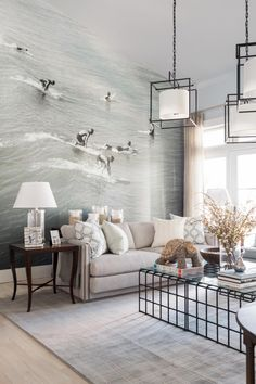 Living Room HGTV Dream Home 2016. The floor to ceiling photo mural is my favorite element in this year's dream home.