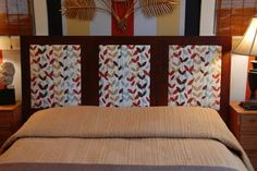 A no-sew headboard.  3 frames that can be changed when you want to change the decor of the room.  Brilliant!