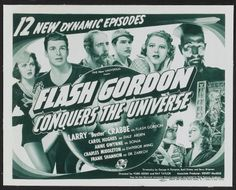 "Flash Gordon Conquers the Universe (Universal, 1940). Title Lobby Card (11"" X 14""). Serial. Starring Larry 'Buster' Crabbe, Carol Hughes, Charles Middleton, Anne Gwynne, Frank Shannon, and John Hamilton. Directed by Ford Beebe and Ray Taylor."