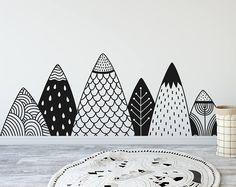 Gemusterte Berge Wand Aufkleber - Berg Abziehbild, Wald Kinderzimmer, Tribal Wandtattoos Wald Aufkleber, Tribal Kindergarten Abziehbild, Natur Kinderzimmer
