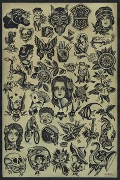 Watkins – Artist: J. Watkins Aces Over Eights Tattoo, Petaluma, California GICLEE – archival inkjet print on German etching paper Printed at Mindzai Creative in Austin, Texas Traditional Tattoo Painting, Traditional Tattoo Filler, Traditional Black Tattoo, Traditional Tattoo Old School, Traditional Tattoo Design, Traditional Flash, Traditional Tattoo Flash Art, American Traditional Sleeve, Flash Art Tattoos