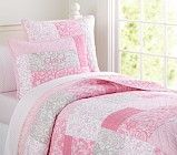 Bella Patchwork Quilted Bedding | Pottery Barn Kids  Also available in purple
