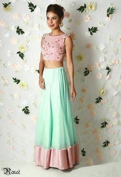 Mint lehenga in net with a pink silk border outlined with pearls and roses, a blush pink crop top in georgette with a net sheer back with pearl, rose, glass beads & sequin embroidery India Fashion, Ethnic Fashion, Asian Fashion, Women's Fashion, Fashion Women, Indian Look, Indian Ethnic Wear, Indian Dresses, Indian Outfits