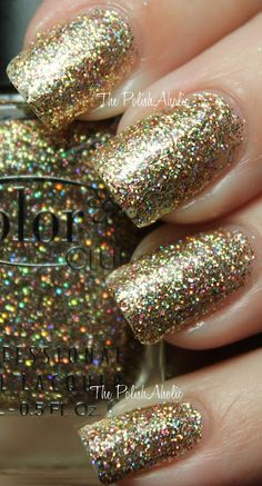 """From The PolishAholic - Color Club Holiday 2011 Beyond The Mistletoe Collection Swatches! - """"Gingerbread is gold and holo glitter. I really like the shade of gold in this one, it's on the darker side and not super yellow so it feels more wearable with my skintone. I used 3 coats for the photos below."""""""