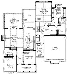 Home Plans HOMEPW10921 - 3,496 Square Feet, 4 Bedroom 5 Bathroom Cottage Home with 2 Garage Bays