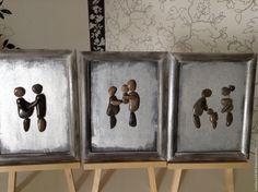 картина из морской гальки, выполнена в стиле триптих, тема семьи, любви, детей, беременность, первая встреча с папой, и третья картина родители и их нашкодивший малыш.