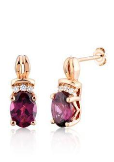 Belk  Co.  10k Rose Gold Rhodolite Garnet and Diamond Earrings