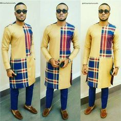 African men clothe, is available in gold, blue-check and cotton fabric . African Wear Styles For Men, African Shirts For Men, African Dresses Men, African Attire For Men, African Clothing For Men, African Outfits, African Style, Nigerian Men Fashion, African Print Fashion