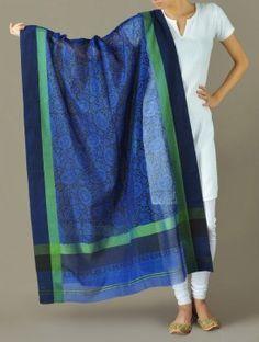 Blue Paisley Floral Jaal Maheshwari-Cotton Silk Dupatta