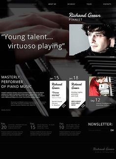Check out this Personal Page Moto CMS HTML Template ( and you will fall in love with it. Clean, professional and simple design. Music Web, Wordpress, Piano Recital, Music Tours, Web Design Software, Html Templates, Piano Music, Website Template, Designs To Draw