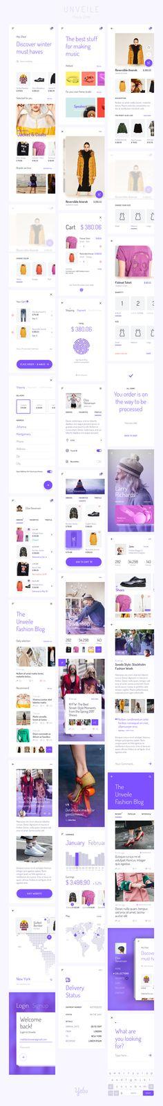 Unveile Fashion Mobile UI Kit -  30 Screen E-Commerce, Articles, Social iOS UI Kit