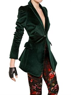 ALEXANDER MCQUEEN - COTTON VELVET JACKET. Not crazy about the printed pants, but I appreciate the simple styling elements and mix of fabric mediums  that really make this outfit speak.