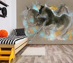 Running Horses Wallpaper Mural Decal Mural Photo Sticker Decal Wall Self-Adhesive Wall Art Design Removable Wallpaper Anne Doyle Paper Wallpaper, Self Adhesive Wallpaper, Artwork Design, Wall Art Designs, Graffiti Wall, Wall Murals, Beach Mural, Photo Wall Stickers, Running Horses