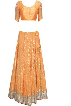 Orange and silver gota patti embroidered lehenga set available only at Pernia's Pop Up Shop.