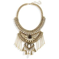 Junior Leith Stone & Spoon Charm Statement Necklace ($24) ❤ liked on Polyvore featuring jewelry, necklaces, accessories, gold burnished, double layer necklace, stone bib necklace, statement necklace, lobster claw charms and chain bib necklace