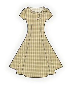 Flared Dress  - Sewing Pattern #4368 Made-to-measure sewing pattern from Lekala with free online download. Fitted, Waist seam, Gathers, Zipper closure, Round neck, Bow collar, Short sleeves, Set-in sleeves, Midi length, Gored skirt, No pockets
