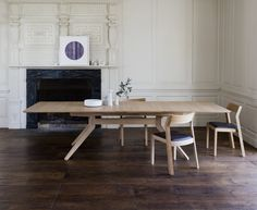 The award-winning Cross extending table by Matthew Hilton is a fine example of advanced wood-manufacturing techniques. The simple lines of this modern design creates a distinctly up-to-date wooden dining table which is practical and adaptable. Wooden Dining Tables, Dining Table Design, Table Seating, Dinning Table, Extendable Dining Table, Table And Chairs, Kitchen Tables, Table Legs, Contemporary Dining Table