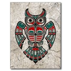 Cracked Red and Black Haida Spirit Owl Post Card