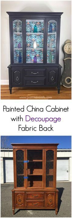 Painted china cabinet with subtle purple glaze, decoupage backing and pop of color inside.