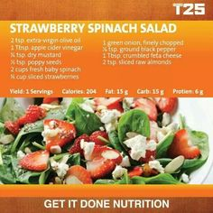 Strawberry Spinach Salad: for PiYo meal plan use only the first column and add 4 chopped walnut halves. Spinach Strawberry Salad, Spinach Salad, Clean Eating Recipes, Healthy Eating, Healthy Recipes, Healthy Fit, Healthy Meals, T25 Meal Plan, 1500 Calorie Diet