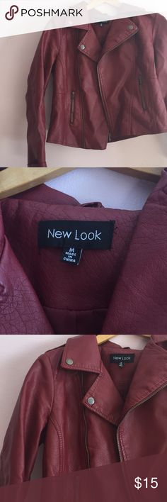 Red faux leather jacket Hardly worn faux leather jacket, a burgundy color, runs small so more of a size small. Great condition! New Look Jackets & Coats