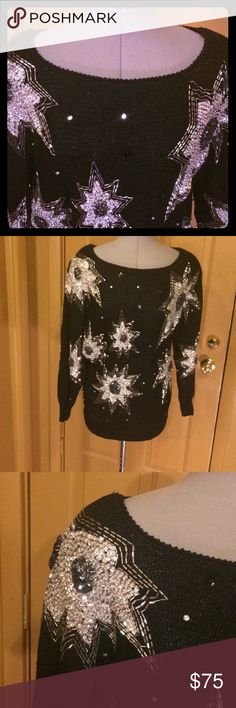 VINTAGE  NANNELL medium ugly Christmas sweater Bling fabulous! Vintage black beaded NANNELL sweater in EUC. Perfect for your ugly Christmas sweater or night out... though this sweater is far from ugly. Stunning high end appeal! Smoke free home dog Mom. Size medium Vintage Sweaters