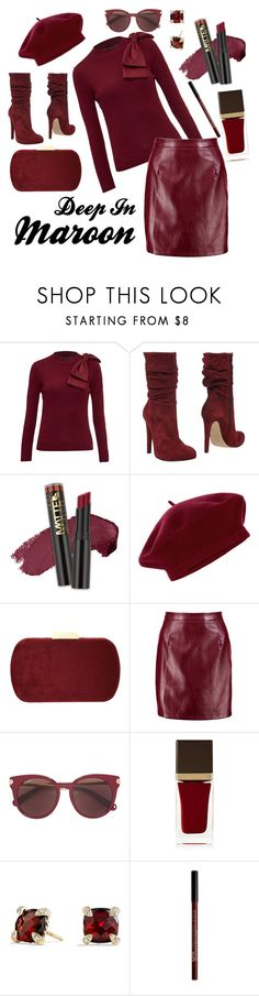 """Deep In Maroon by D.Shaw"" by b-signature-dshaw ❤ liked on Polyvore featuring Ted Baker, Jolie By Edward Spiers, L.A. Girl, Accessorize, Natasha, Boohoo, Salvatore Ferragamo, Tom Ford, David Yurman and NYX"