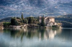 Toblino Castle - toblino castle view on sunny winter day  HDR 3 images -1 0 +1 EV