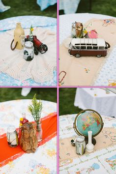 Centerpieces w/ personal odds and ends