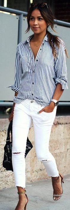 Navy & white striped long sleeve casual blouse with white cut-hem denim and low heel metallic sandals.