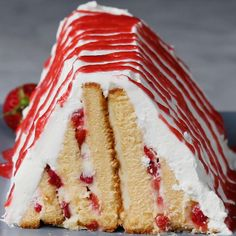 Strawberries 'N' Cream Pyramid Cake Recipe by Tasty
