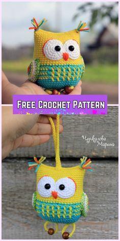 Crochet Owl Amigurumi Free Patterns-Crochet Owl Rattle Toy Free Pattern