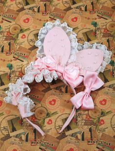 Sweet Pink Bow Lace Rabbit Ear Shape Cotton Lolita Hair Band