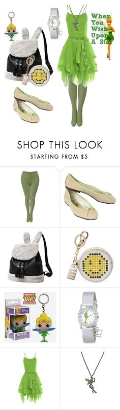 """""""modern day Tinkerbelle"""" by rainerosreeliseallen on Polyvore featuring Versace, French Sole FS/NY, Anya Hindmarch, Funko, Disney, Zara Taylor and modern"""