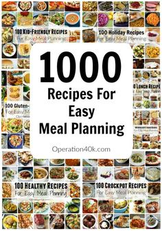 Meal Planning is easy when you utilize these great recipes with 1000 different recipes such as crockpot recipes, kid friendly recipes, dinner recipes, chicken recipes, gluten free recipes, breakfast recipes, snack recipes and recipes for the holidays plus more!