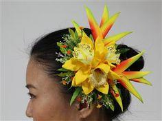 Orchid & Bird of Paradise hair clip