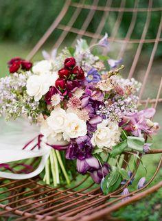 Romantic Jewel Toned Garden Bouquet | Emily Katharine Photography | http://heyweddinglady.com/whimsical-modern-garden-wedding-copper-purple/