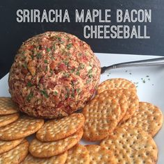 Sriracha Maple Bacon Cheese Ball recipe - perfect for parties, game days, and entertaining guests!
