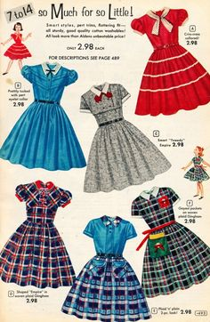 Working on new Valspierssews Doll Clothes Patterns and 'Fixing' a Few Things Fifties Fashion, Retro Fashion, Girl Fashion, Vintage Fashion, French Fashion, Korean Fashion, Fashion Tips, Vintage Outfits, Vintage Girls Dresses