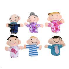 6ピースファミリーフィンガーパペット布人形、赤ちゃん教育玩具、指ぬいぐるみ、フィンガーパペット、ぬいぐるみフィンガーおもちゃ子供のため