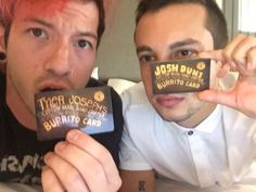 Twenty one pilots with chipotle cards
