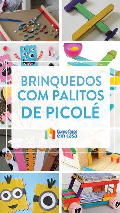 Ideias para fazer brinquedos com palitos de picolé | Como fazer em casa Homeschooling, Biscuit, Crafts, Infant Activities, Home Brewing, Diy Home, Craft Ideas, Diy And Crafts, Fairy Tale Activities
