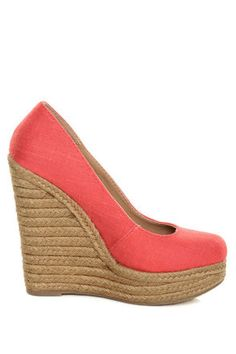 My Delicious Glow Coral Linen Espadrille Wedges